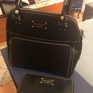 Kate spade black leather handbag/wallet